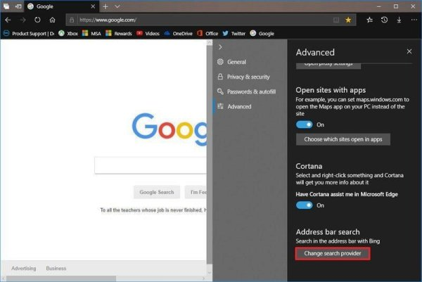 Change Default Search Engine to Google in Microsoft Edge Under the Address bar search section
