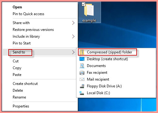 compress a pdf file on windows 10 with send to menu