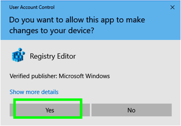 Confirm the opening of Registry Editor Window