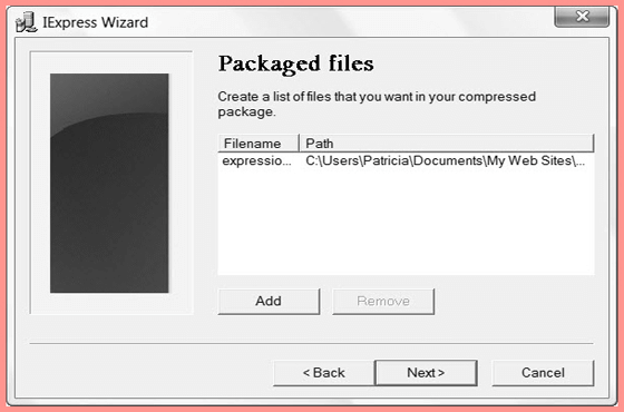 Create a list of files that you want in your compressed Package