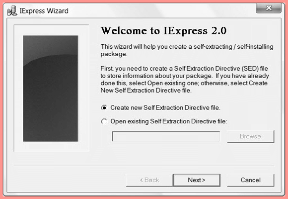 Create new Self Extraction Directive file