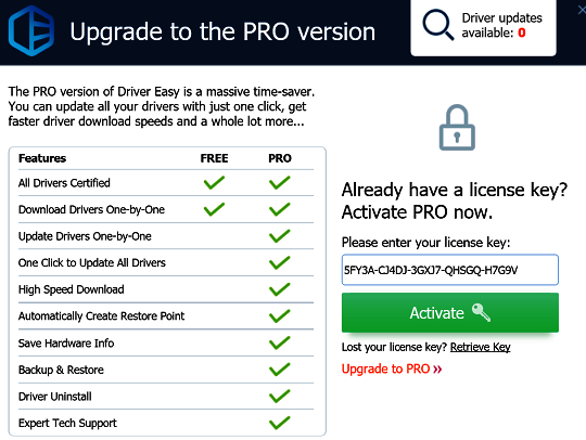 Driver Easy Pro 2019 Activation Code