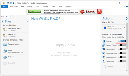 how to Encrypt folder with winzip in windows 10