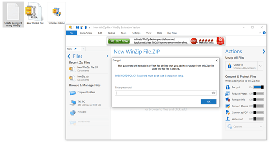 Enter a strong Password winzip software