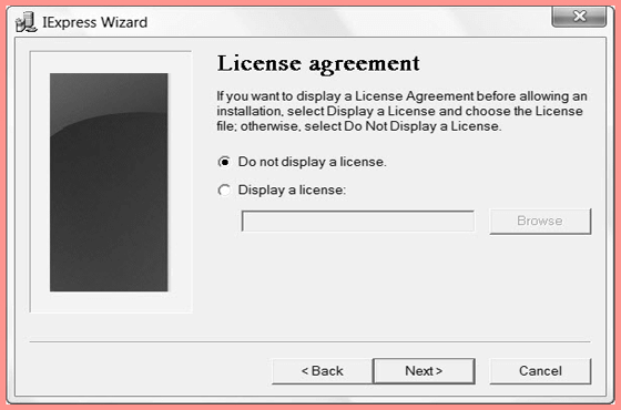 License Agreement before allowing installation