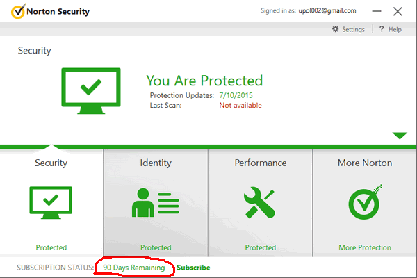 Norton security 2019 90 days free subscription