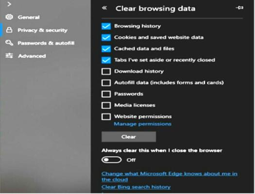 Reset Microsoft Edge from the Settings app