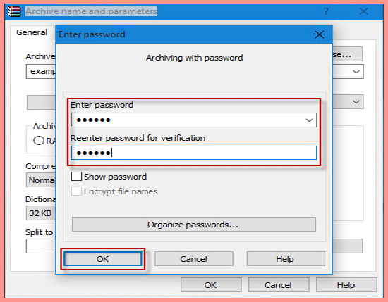 Set Password a zip folder using winrar in windows 10