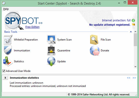 spybot search destroy to remove malware and spyware