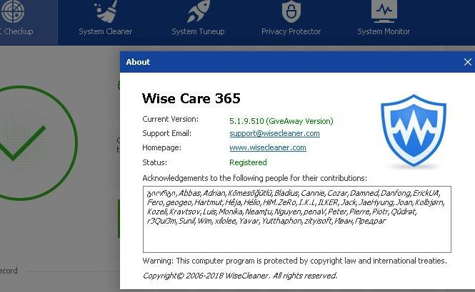 Wise Care 365 Pro serial key Free Downlaod