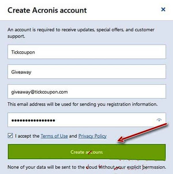 acronis true image 2019 create account