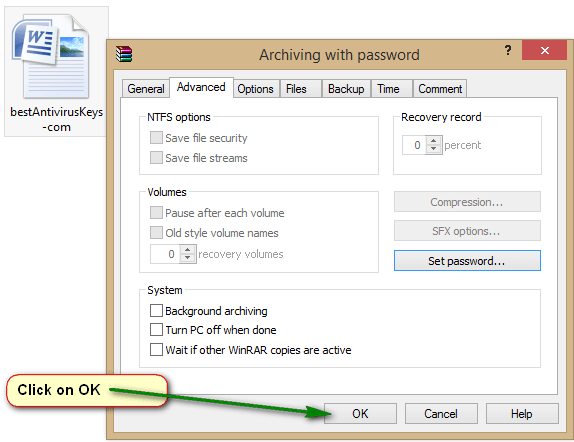 how to create password protected zip windows 7