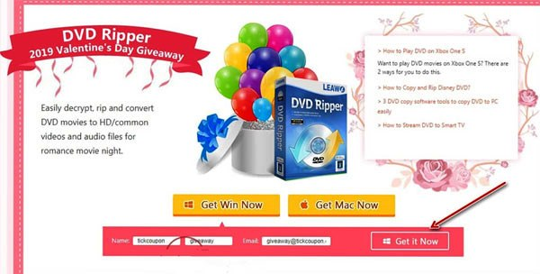 leawo dvd ripper enter name and email
