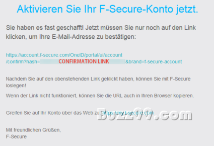 f secure internet security safe mail confirmation link