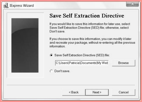 self extraction directory chose